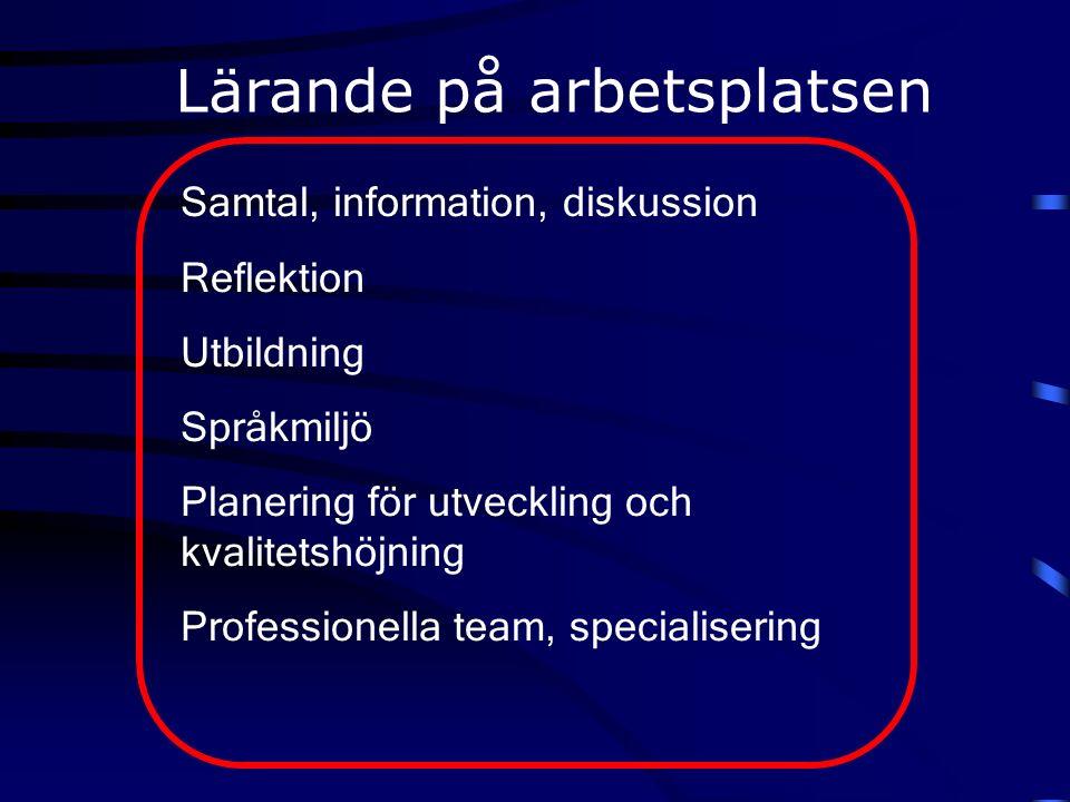 Samtal, information, diskussion Reflektion Utbildning Språkmiljö Planering för utveckling och kvalitetshöjning Professionella team, specialisering Lärande på arbetsplatsen