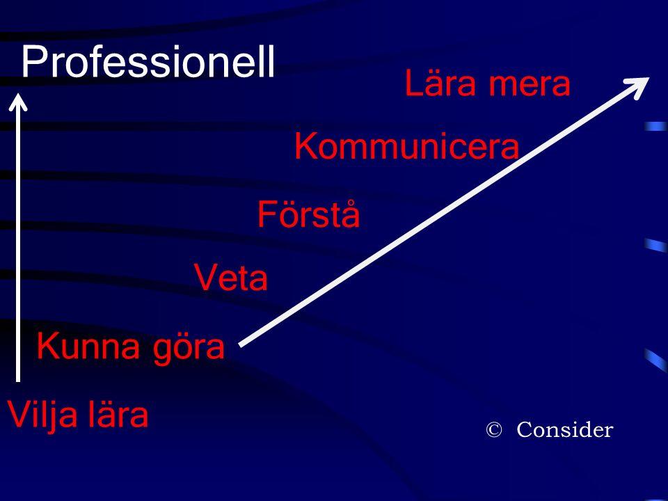 © Consider Kunna göra Veta Förstå Kommunicera Lära mera Professionell Vilja lära