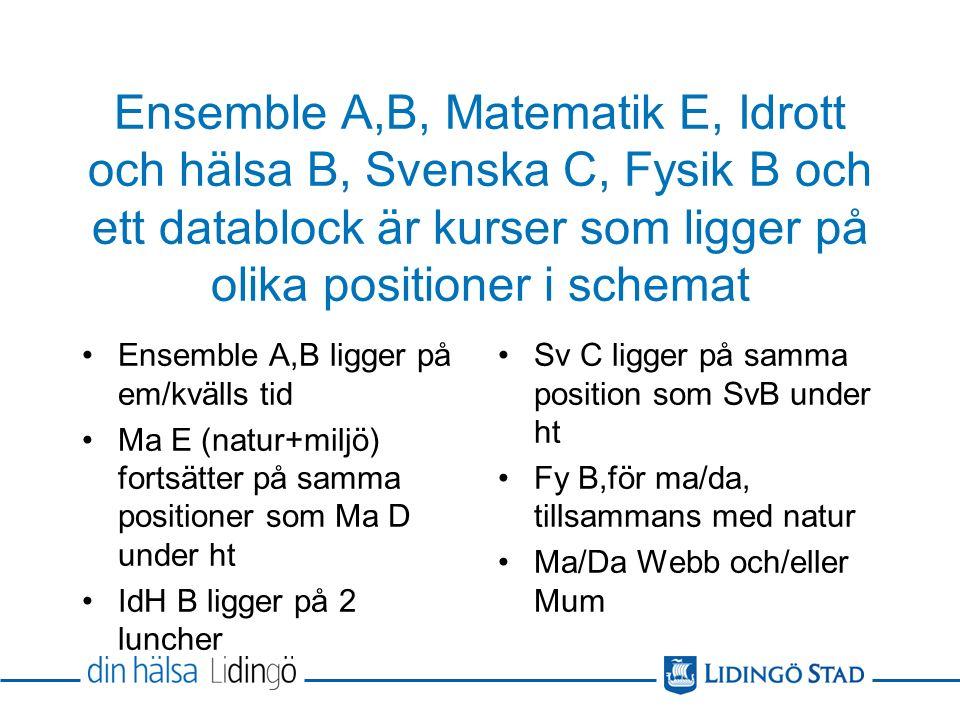 Ensemble A,B, Matematik E, Idrott och hälsa B, Svenska C, Fysik B och ett datablock är kurser som ligger på olika positioner i schemat Ensemble A,B ligger på em/kvälls tid Ma E (natur+miljö) fortsätter på samma positioner som Ma D under ht IdH B ligger på 2 luncher Sv C ligger på samma position som SvB under ht Fy B,för ma/da, tillsammans med natur Ma/Da Webb och/eller Mum