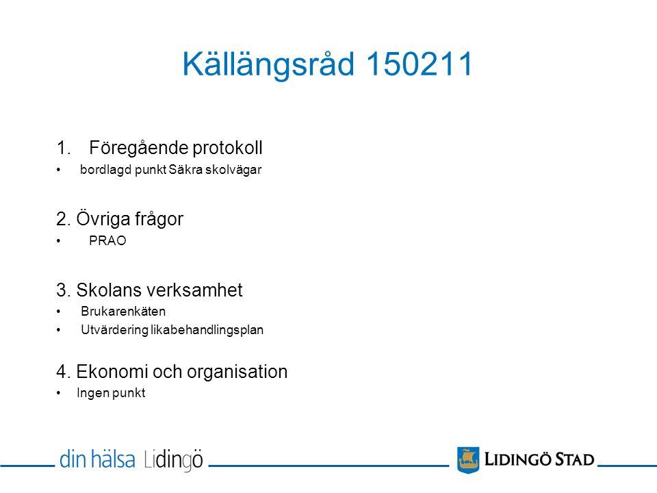 Källängsråd 150211 1.Föregående protokoll bordlagd punkt Säkra skolvägar 2.