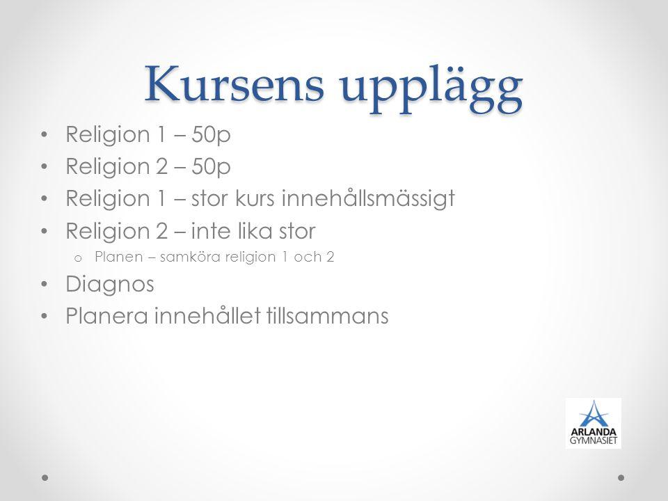 Kursens upplägg Religion 1 – 50p Religion 2 – 50p Religion 1 – stor kurs innehållsmässigt Religion 2 – inte lika stor o Planen – samköra religion 1 oc