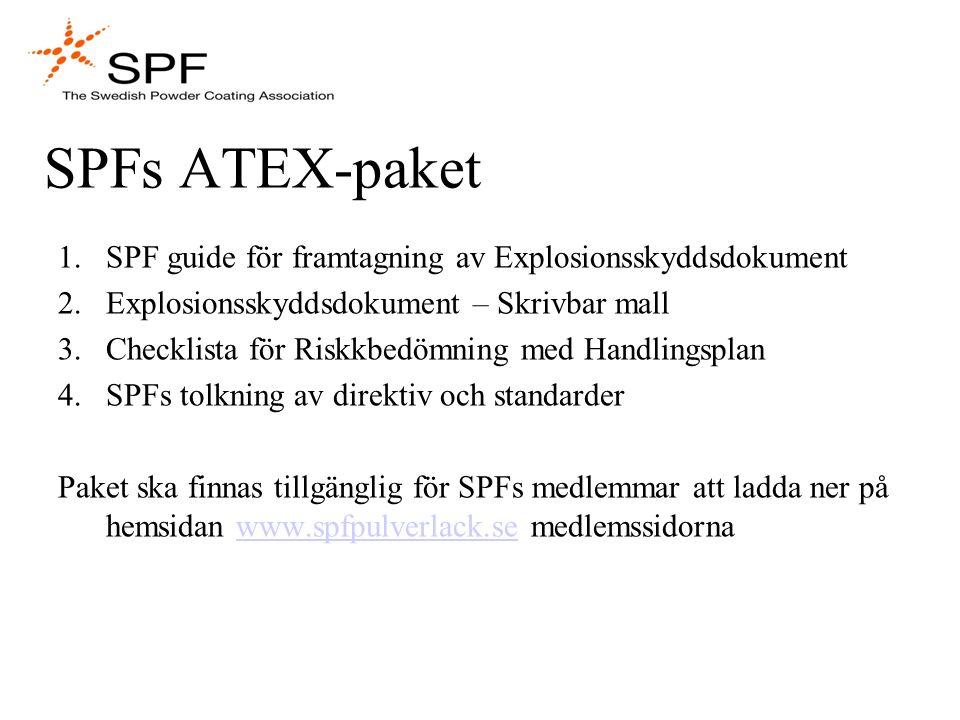 SPFs ATEX-paket 1.SPF guide för framtagning av Explosionsskyddsdokument 2.Explosionsskyddsdokument – Skrivbar mall 3.Checklista för Riskkbedömning med