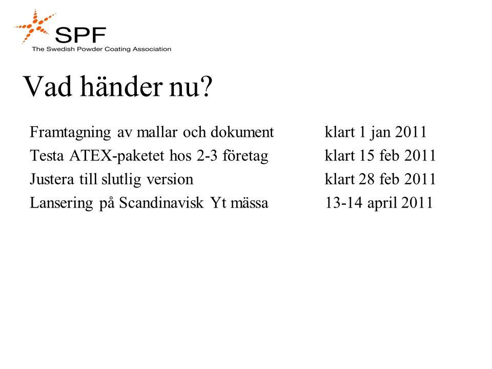 Vad händer nu? Framtagning av mallar och dokument klart 1 jan 2011 Testa ATEX-paketet hos 2-3 företagklart 15 feb 2011 Justera till slutlig versionkla