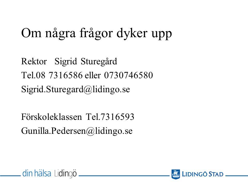 Om några frågor dyker upp Rektor Sigrid Sturegård Tel.08 7316586 eller 0730746580 Sigrid.Sturegard@lidingo.se Förskoleklassen Tel.7316593 Gunilla.Pede