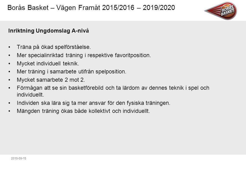 Borås Basket – Vägen Framåt 2015/2016 – 2019/2020 2015-09-15 Inriktning Ungdomslag A-nivå Träna på ökad spelförståelse.
