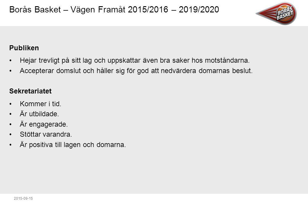 Borås Basket – Vägen Framåt 2015/2016 – 2019/2020 2015-09-15 Publiken Hejar trevligt på sitt lag och uppskattar även bra saker hos motståndarna.