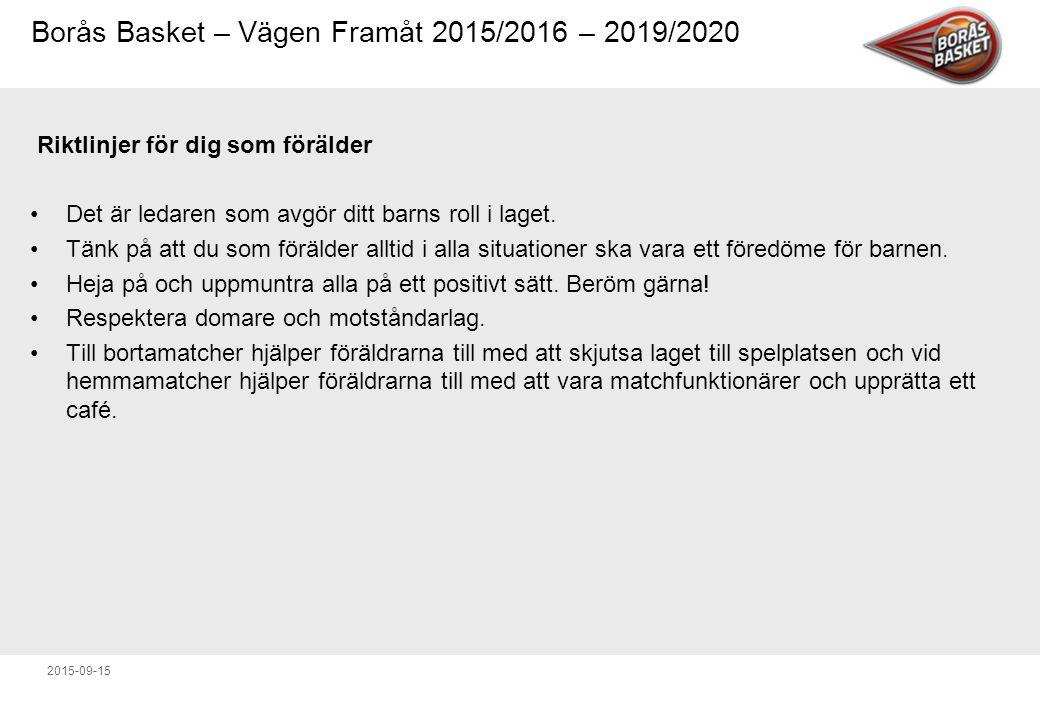 Borås Basket – Vägen Framåt 2015/2016 – 2019/2020 2015-09-15 Riktlinjer för dig som förälder Det är ledaren som avgör ditt barns roll i laget.