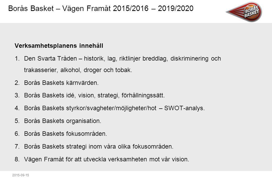 Borås Basket – Vägen Framåt 2015/2016 – 2019/2020 2015-09-15 Vägen Framåt för att utveckla verksamheten mot vår vision