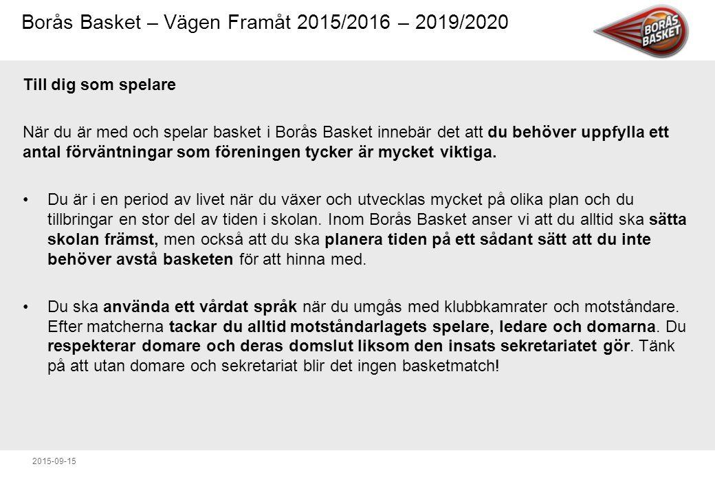 Borås Basket – Vägen Framåt 2015/2016 – 2019/2020 2015-09-15 Till dig som spelare När du är med och spelar basket i Borås Basket innebär det att du behöver uppfylla ett antal förväntningar som föreningen tycker är mycket viktiga.
