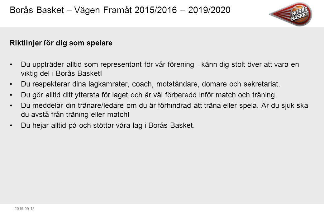 Borås Basket – Vägen Framåt 2015/2016 – 2019/2020 2015-09-15 Riktlinjer för dig som spelare Du uppträder alltid som representant för vår förening - känn dig stolt över att vara en viktig del i Borås Basket.