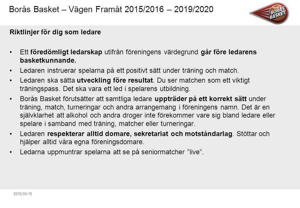 Borås Basket – Vägen Framåt 2015/2016 – 2019/2020 2015-09-15 Riktlinjer för dig som ledare Ett föredömligt ledarskap utifrån föreningens värdegrund går före ledarens basketkunnande.