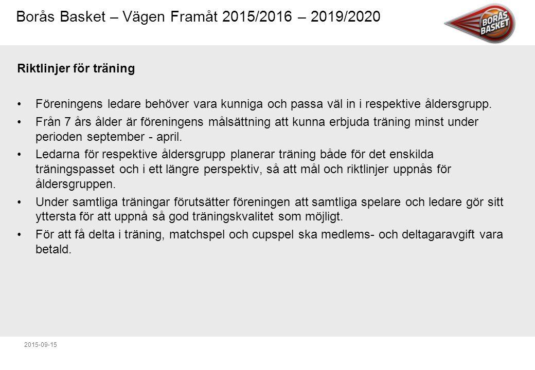 Borås Basket – Vägen Framåt 2015/2016 – 2019/2020 2015-09-15 Riktlinjer för träning Föreningens ledare behöver vara kunniga och passa väl in i respektive åldersgrupp.