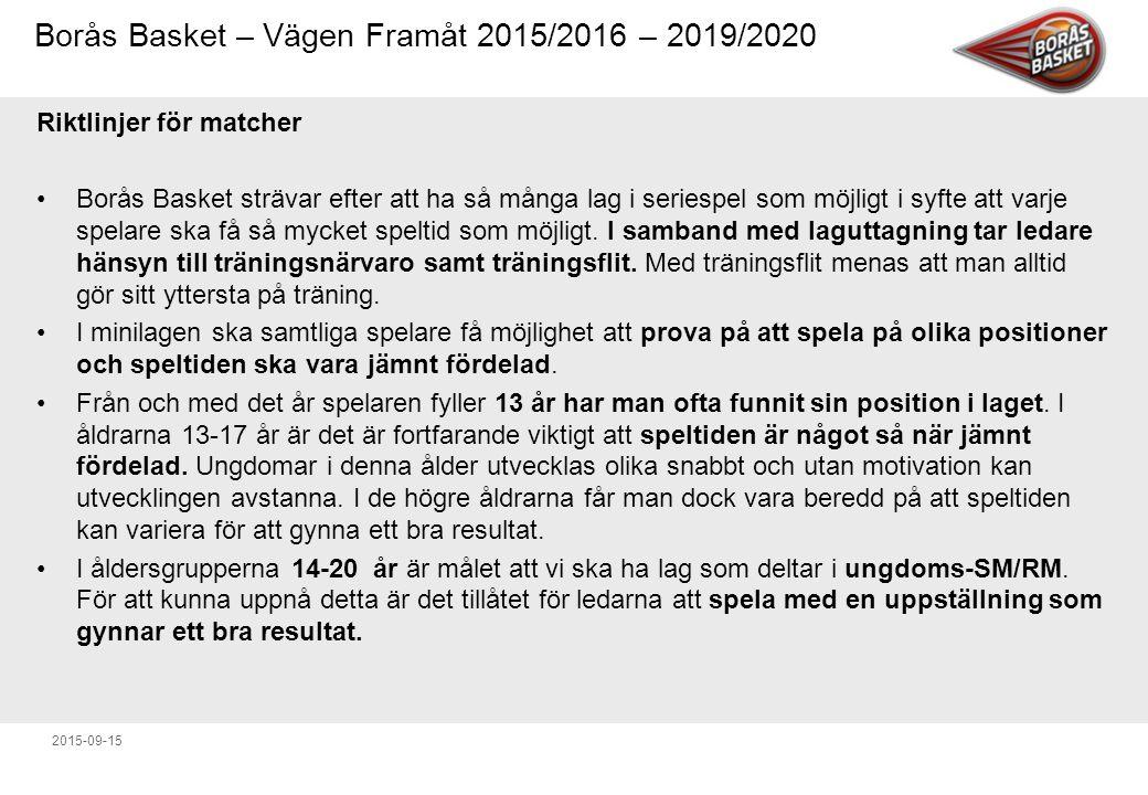 Borås Basket – Vägen Framåt 2015/2016 – 2019/2020 2015-09-15 Riktlinjer för matcher Borås Basket strävar efter att ha så många lag i seriespel som möjligt i syfte att varje spelare ska få så mycket speltid som möjligt.