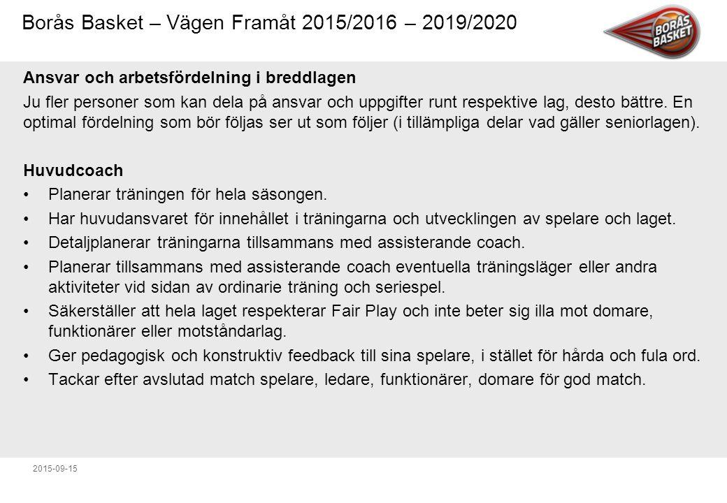Borås Basket – Vägen Framåt 2015/2016 – 2019/2020 2015-09-15 Ansvar och arbetsfördelning i breddlagen Ju fler personer som kan dela på ansvar och uppgifter runt respektive lag, desto bättre.