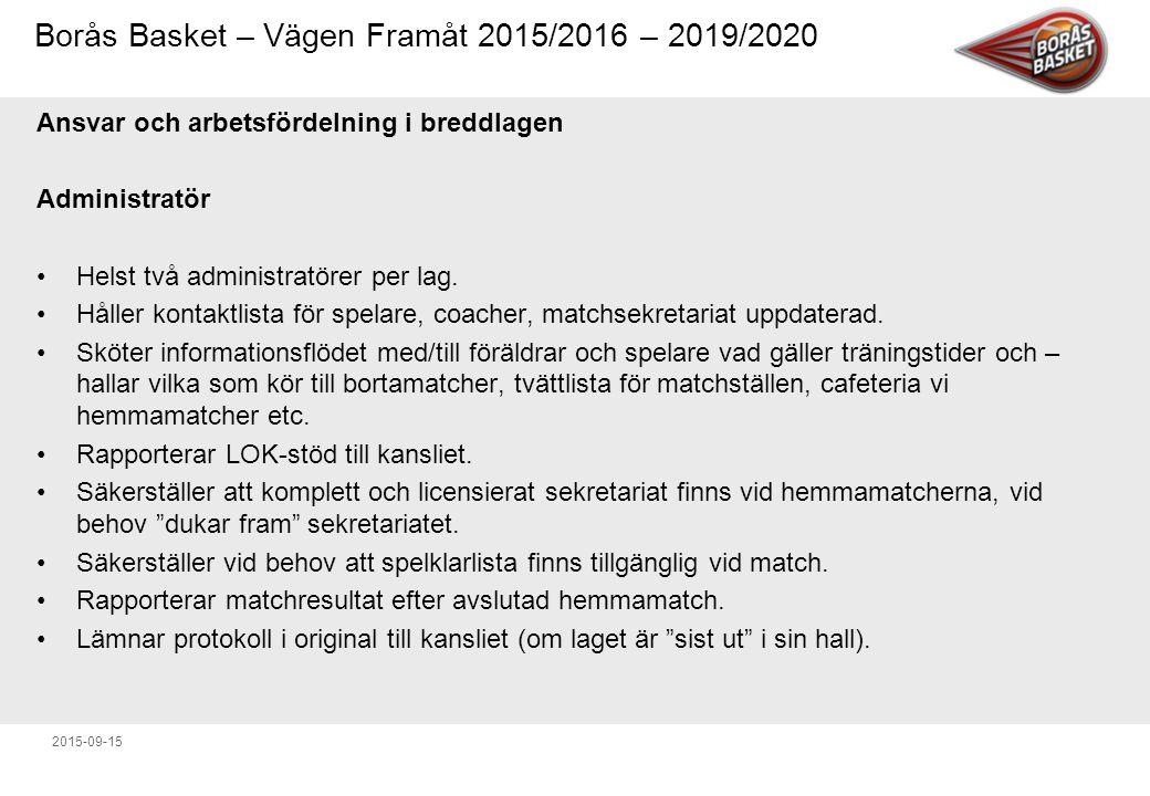Borås Basket – Vägen Framåt 2015/2016 – 2019/2020 2015-09-15 Ansvar och arbetsfördelning i breddlagen Administratör Helst två administratörer per lag.