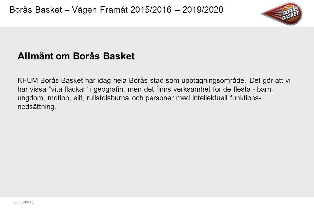 Borås Basket – Vägen Framåt 2015/2016 – 2019/2020 2015-09-15 Borås Baskets kärnvärden Glädje - Vi vill sprida glädje och bygga stämning.