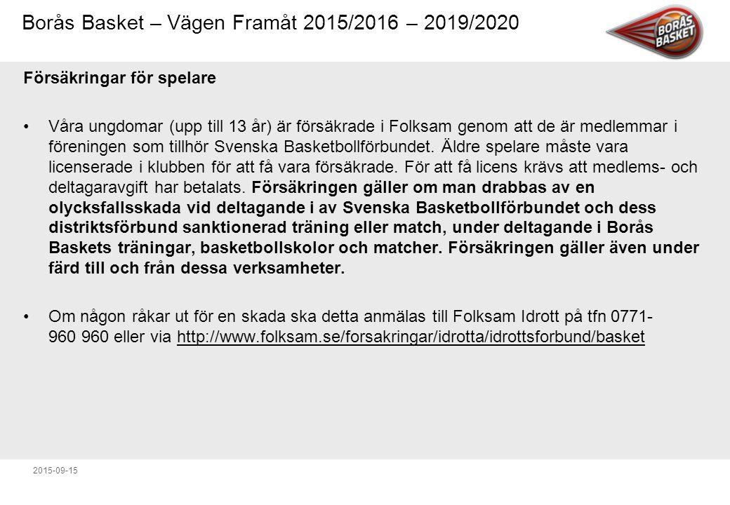Borås Basket – Vägen Framåt 2015/2016 – 2019/2020 2015-09-15 Försäkringar för spelare Våra ungdomar (upp till 13 år) är försäkrade i Folksam genom att de är medlemmar i föreningen som tillhör Svenska Basketbollförbundet.