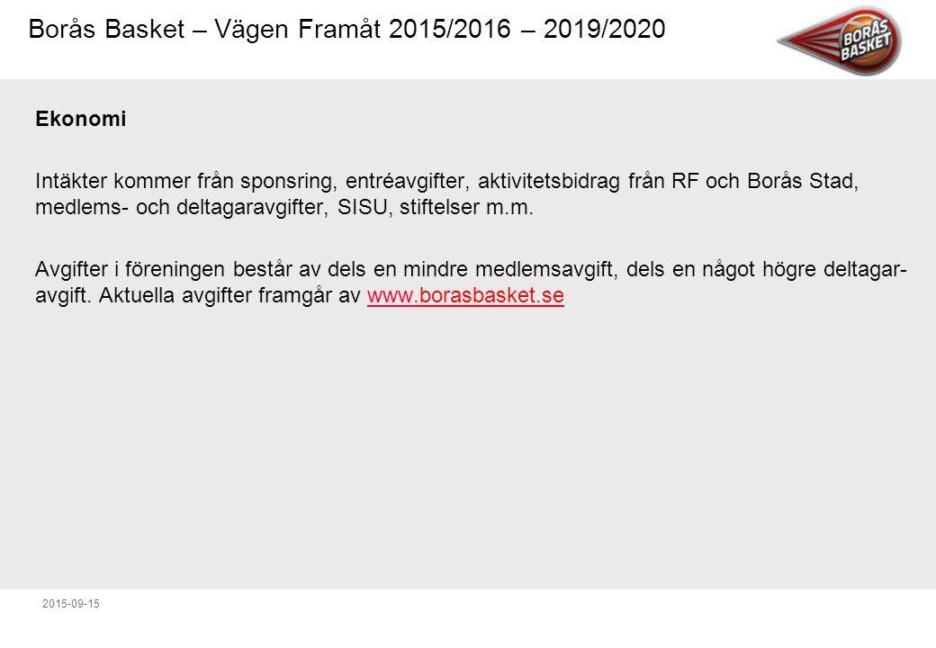 Borås Basket – Vägen Framåt 2015/2016 – 2019/2020 2015-09-15 Ekonomi Intäkter kommer från sponsring, entréavgifter, aktivitetsbidrag från RF och Borås Stad, medlems- och deltagaravgifter, SISU, stiftelser m.m.