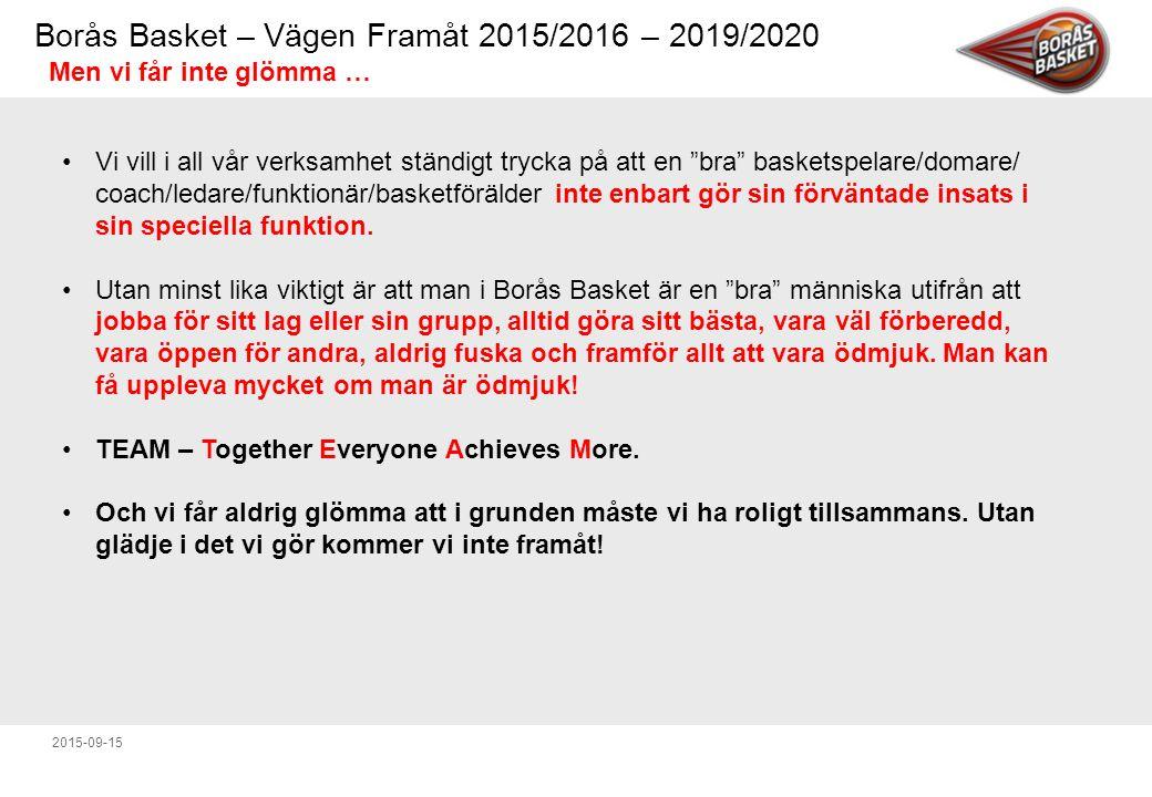 Borås Basket – Vägen Framåt 2015/2016 – 2019/2020 2015-09-15 Men vi får inte glömma … Vi vill i all vår verksamhet ständigt trycka på att en bra basketspelare/domare/ coach/ledare/funktionär/basketförälder inte enbart gör sin förväntade insats i sin speciella funktion.