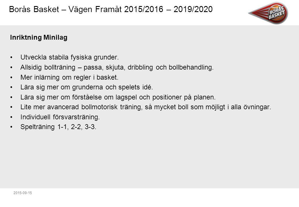 Borås Basket – Vägen Framåt 2015/2016 – 2019/2020 2015-09-15 Inriktning Ungdomslag B-, C-, D-nivå Mycket motorisk och koordinationsträning med och utan boll.