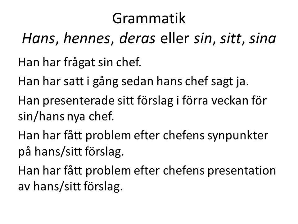 Grammatik Hans, hennes, deras eller sin, sitt, sina Han har frågat sin chef. Han har satt i gång sedan hans chef sagt ja. Han presenterade sitt försla