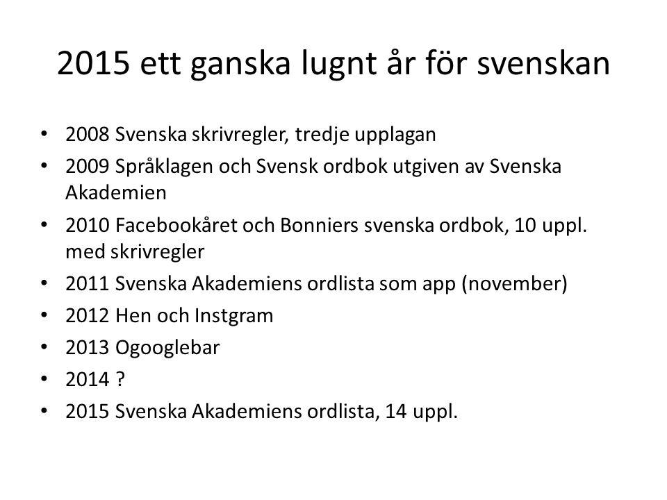 2015 ett ganska lugnt år för svenskan 2008 Svenska skrivregler, tredje upplagan 2009 Språklagen och Svensk ordbok utgiven av Svenska Akademien 2010 Fa