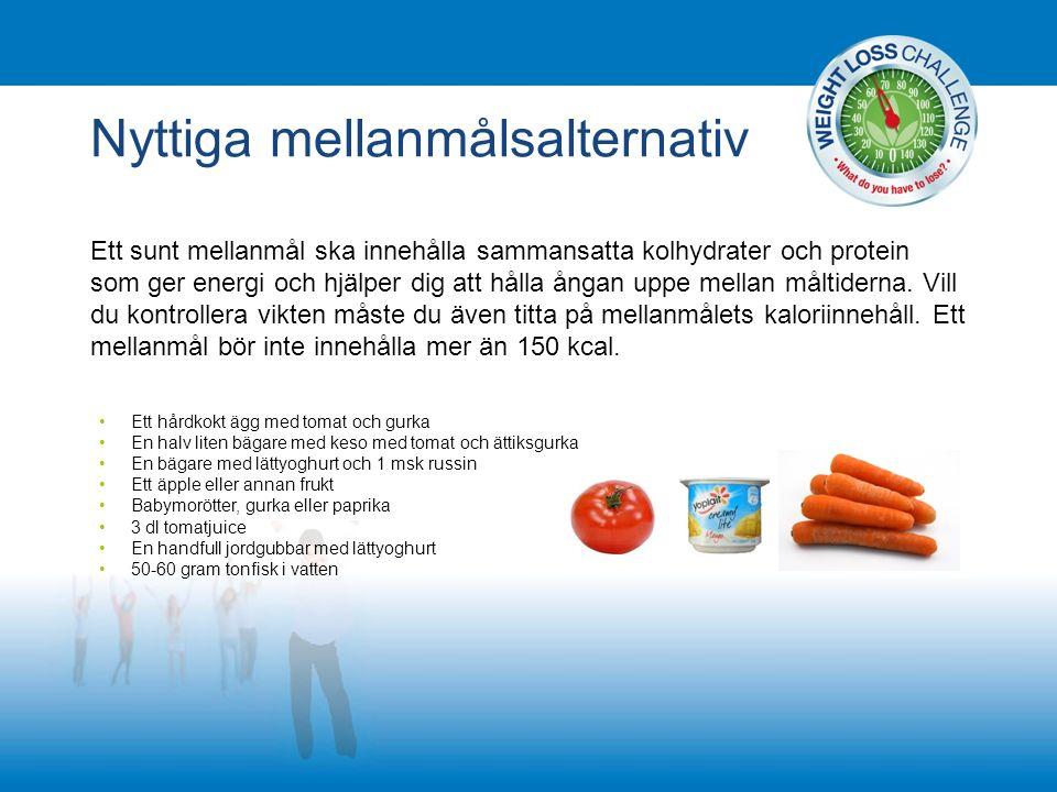 Nyttiga mellanmålsalternativ Ett sunt mellanmål ska innehålla sammansatta kolhydrater och protein som ger energi och hjälper dig att hålla ångan uppe mellan måltiderna.