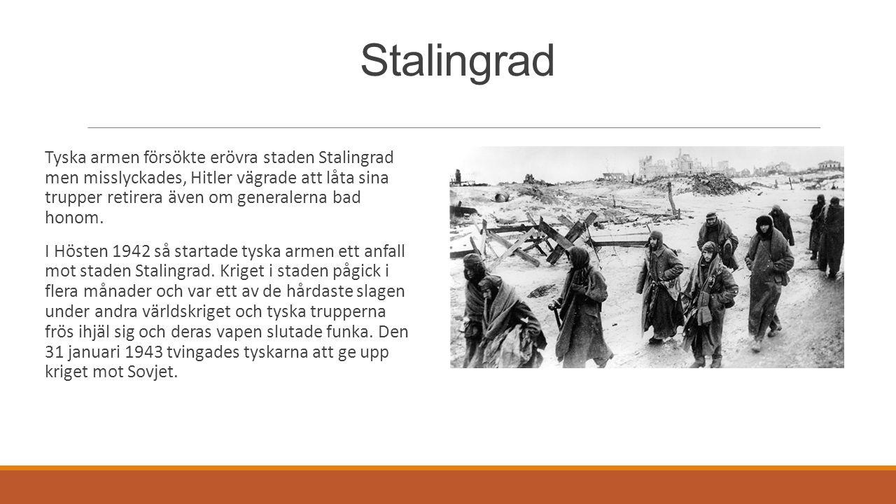 Stalingrad Tyska armen försökte erövra staden Stalingrad men misslyckades, Hitler vägrade att låta sina trupper retirera även om generalerna bad hono