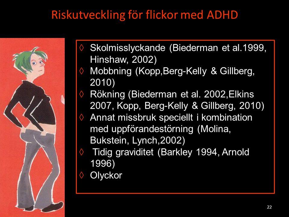 Riskutveckling för flickor med ADHD ◊Skolmisslyckande (Biederman et al.1999, Hinshaw, 2002) ◊Mobbning (Kopp,Berg-Kelly & Gillberg, 2010) ◊Rökning (Bie