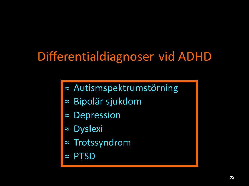 Differentialdiagnoser vid ADHD ≈Autismspektrumstörning ≈Bipolär sjukdom ≈Depression ≈Dyslexi ≈Trotssyndrom ≈PTSD 25