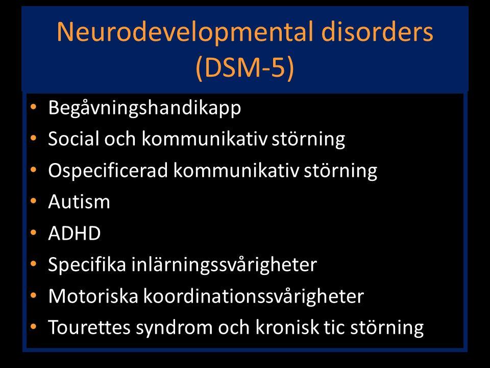 Neurodevelopmental disorders (DSM-5) Begåvningshandikapp Social och kommunikativ störning Ospecificerad kommunikativ störning Autism ADHD Specifika in
