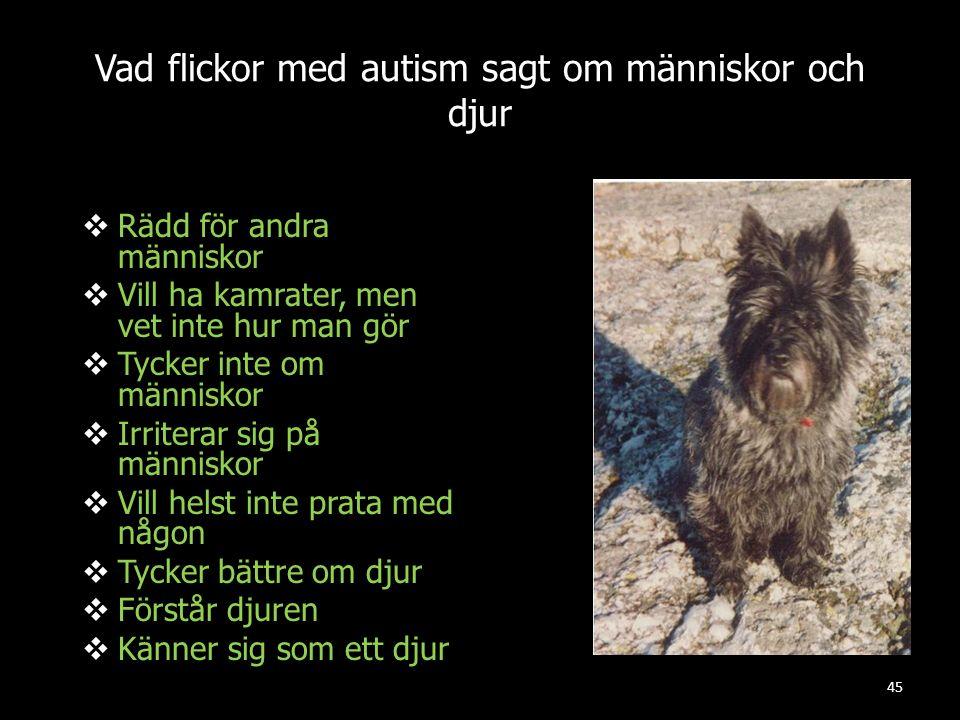 45 Vad flickor med autism sagt om människor och djur  Rädd för andra människor  Vill ha kamrater, men vet inte hur man gör  Tycker inte om människo