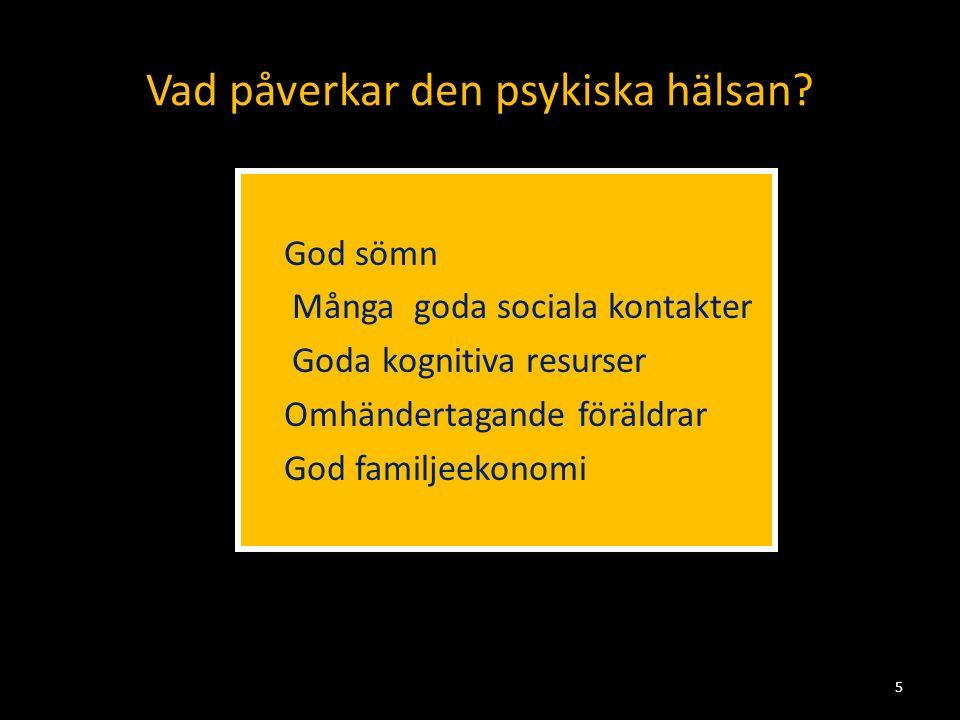Vad påverkar den psykiska hälsan?  God sömn  Många goda sociala kontakter  Goda kognitiva resurser  Omhändertagande föräldrar  God familjeekonomi