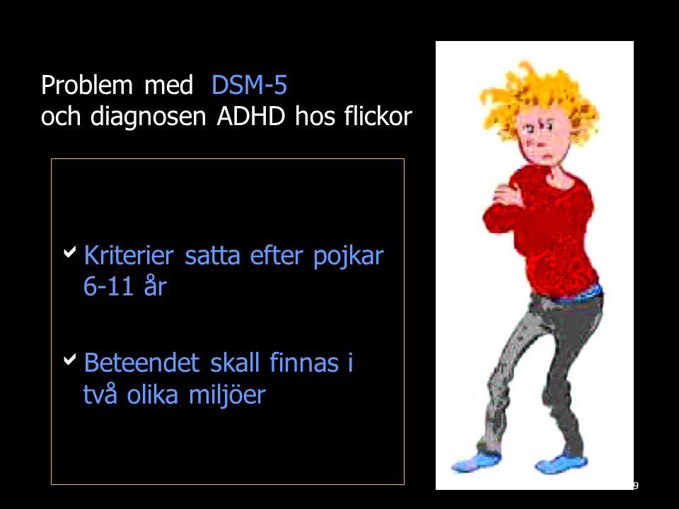Problem med DSM-5 och diagnosen ADHD hos flickor KKriterier satta efter pojkar 6-11 år BBeteendet skall finnas i två olika miljöer 9
