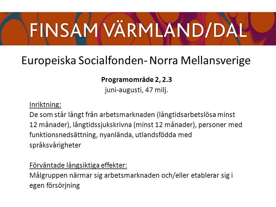 Europeiska Socialfonden- Norra Mellansverige Programområde 2, 2.3 juni-augusti, 47 milj.