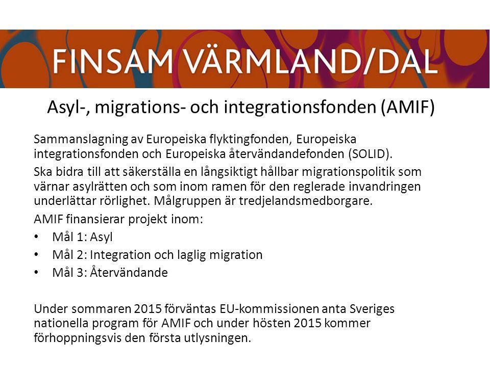 Asyl-, migrations- och integrationsfonden (AMIF) Sammanslagning av Europeiska flyktingfonden, Europeiska integrationsfonden och Europeiska återvändandefonden (SOLID).