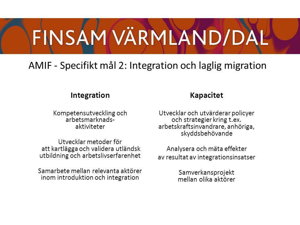 AMIF - Specifikt mål 2: Integration och laglig migration Integration Kompetensutveckling och arbetsmarknads- aktiviteter Utvecklar metoder för att kartlägga och validera utländsk utbildning och arbetslivserfarenhet Samarbete mellan relevanta aktörer inom introduktion och integration Kapacitet Utvecklar och utvärderar policyer och strategier kring t.ex.