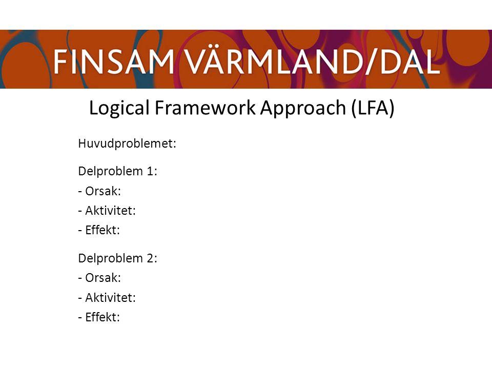 Logical Framework Approach (LFA) Huvudproblemet: Delproblem 1: - Orsak: - Aktivitet: - Effekt: Delproblem 2: - Orsak: - Aktivitet: - Effekt:
