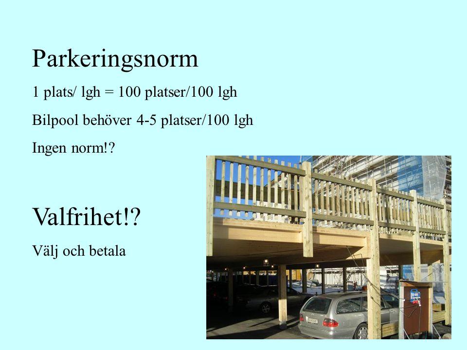 Parkeringsnorm 1 plats/ lgh = 100 platser/100 lgh Bilpool behöver 4-5 platser/100 lgh Ingen norm!.