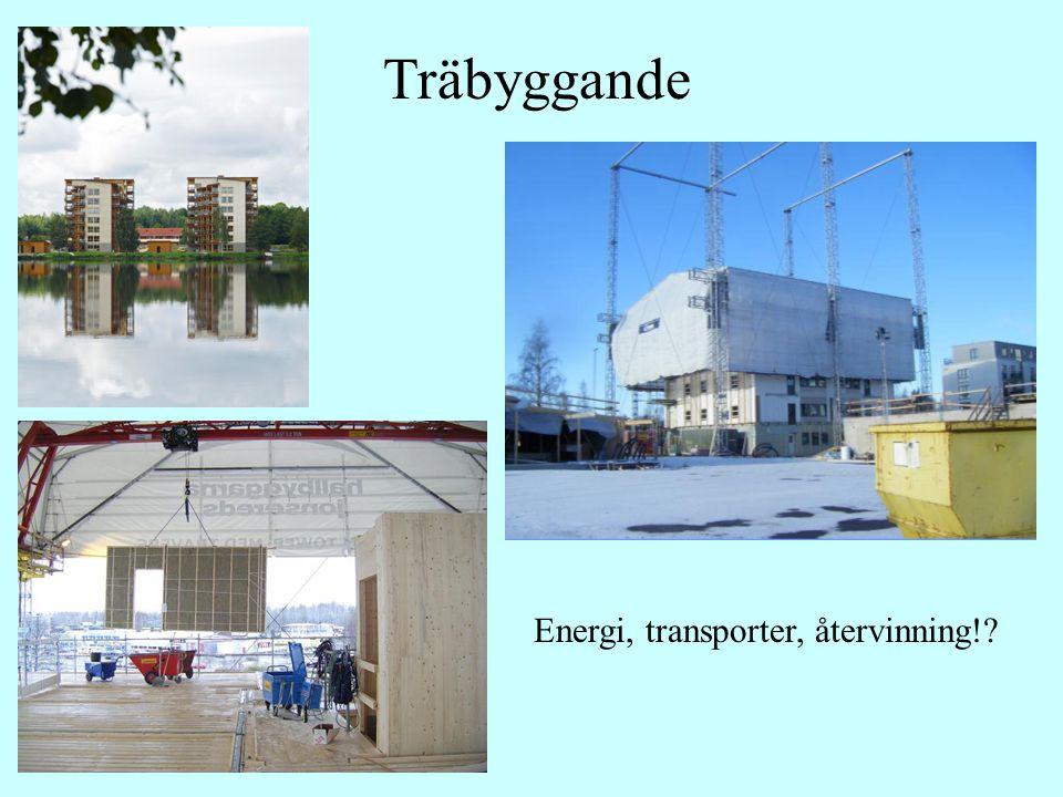 Träbyggande Energi, transporter, återvinning!