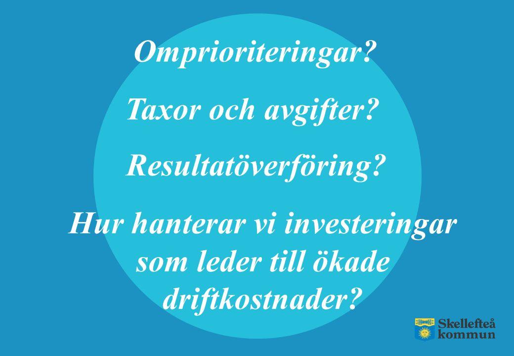Omprioriteringar? Hur hanterar vi investeringar som leder till ökade driftkostnader? Resultatöverföring? Taxor och avgifter?