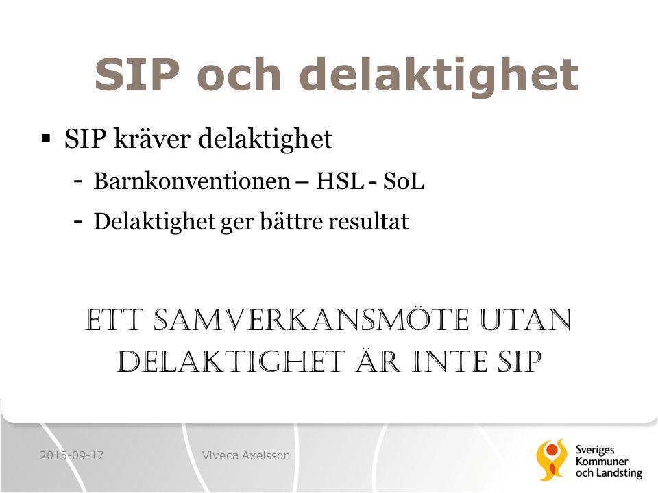 SIP och delaktighet  SIP kräver delaktighet - Barnkonventionen – HSL - SoL - Delaktighet ger bättre resultat Ett samverkansmöte utan delaktighet är i