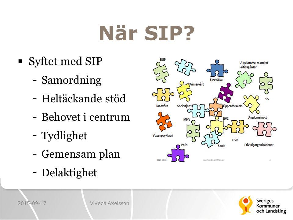 När SIP?  Syftet med SIP - Samordning - Heltäckande stöd - Behovet i centrum - Tydlighet - Gemensam plan - Delaktighet 2015-09-17Viveca Axelsson