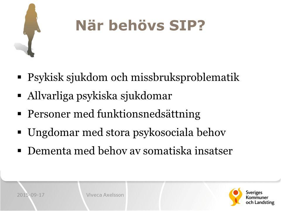 När behövs SIP?  Psykisk sjukdom och missbruksproblematik  Allvarliga psykiska sjukdomar  Personer med funktionsnedsättning  Ungdomar med stora ps