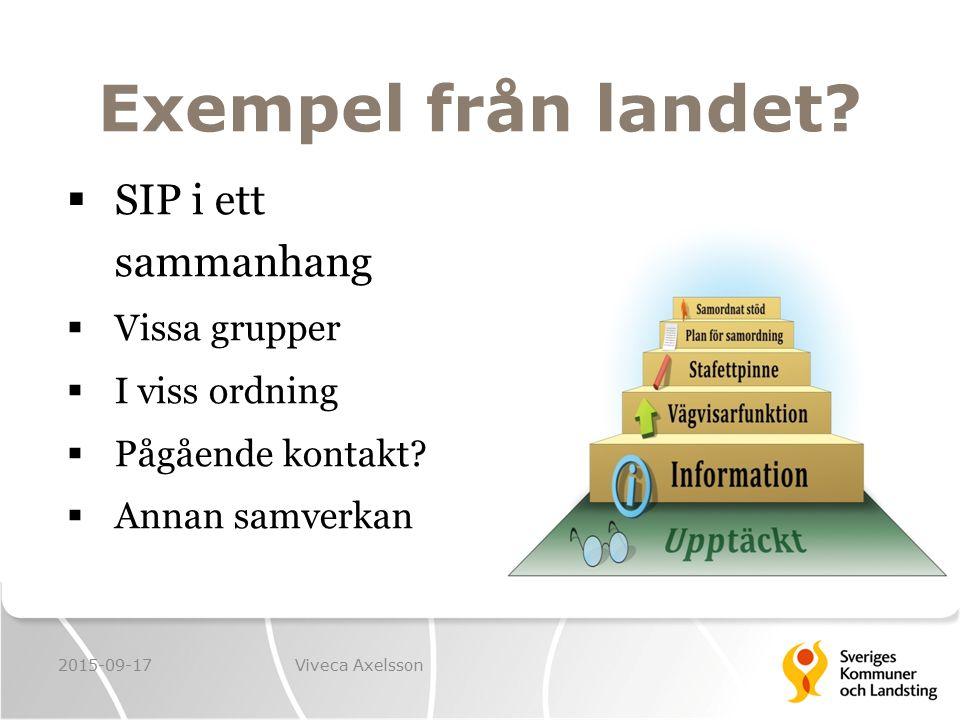 Exempel från landet?  SIP i ett sammanhang  Vissa grupper  I viss ordning  Pågående kontakt?  Annan samverkan 2015-09-17Viveca Axelsson