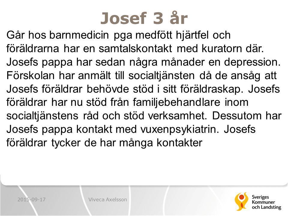 Josef 3 år 2015-09-17Viveca Axelsson Går hos barnmedicin pga medfött hjärtfel och föräldrarna har en samtalskontakt med kuratorn där. Josefs pappa har