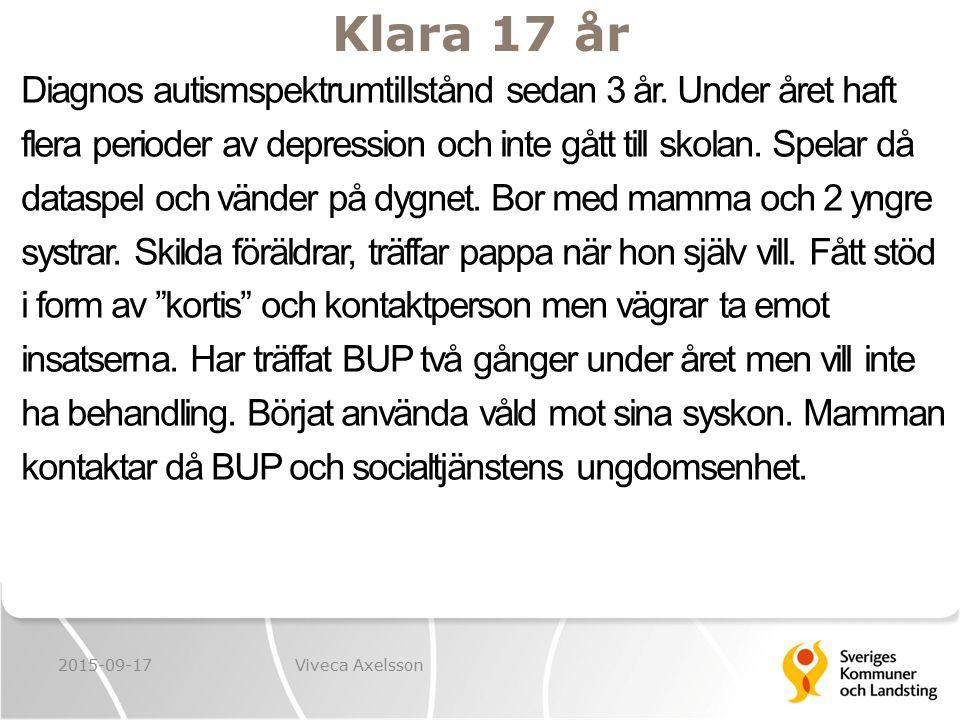 Klara 17 år Diagnos autismspektrumtillstånd sedan 3 år. Under året haft flera perioder av depression och inte gått till skolan. Spelar då dataspel och