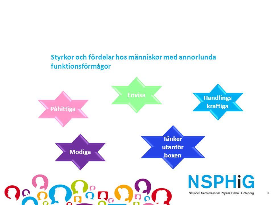 Styrkor och fördelar hos människor med annorlunda funktionsförmågor Modiga Påhittiga Tänker utanför boxen Envisa Handlings kraftiga