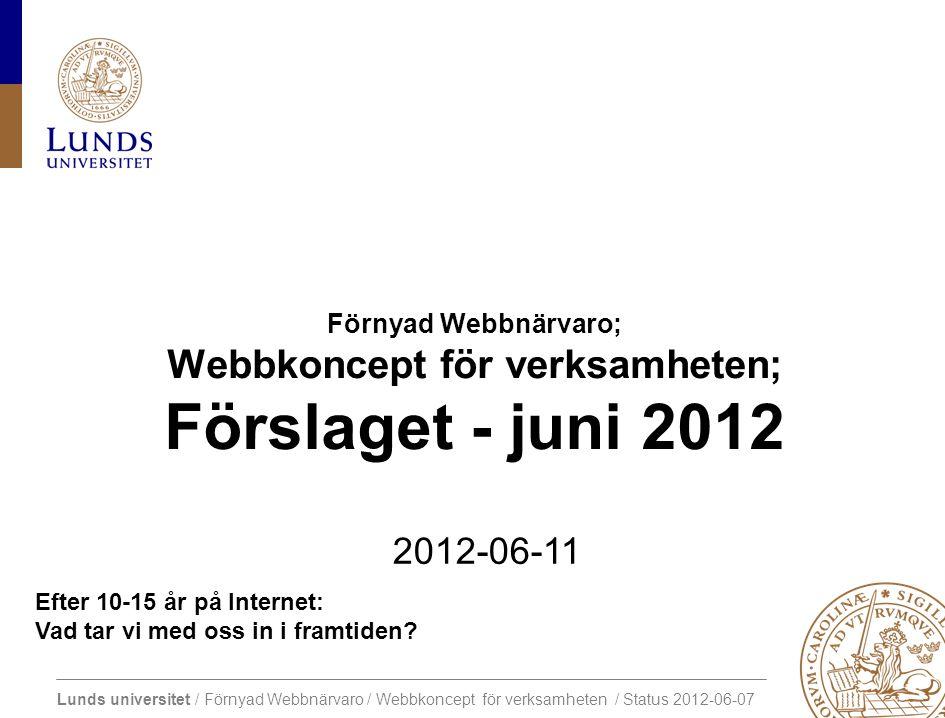Lunds universitet / Förnyad Webbnärvaro / Webbkoncept för verksamheten / Status 2012-06-07 Vad: 2.
