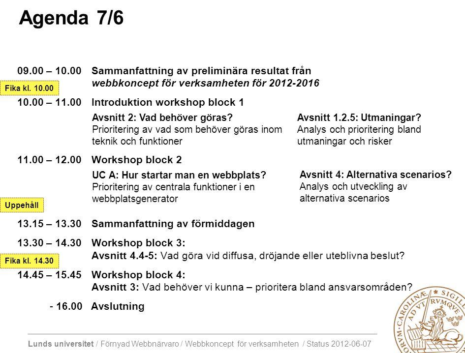 Lunds universitet / Förnyad Webbnärvaro / Webbkoncept för verksamheten / Status 2012-06-07 VÅREN 2012 Webbkoncept för verksamheten 2012-06-05